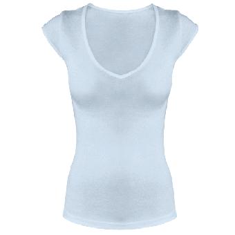 Leichtes V-Neck Shirt Pale Blue | XL